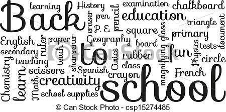 Typography clipart School typography of white Back