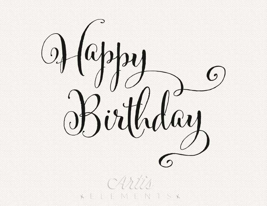 Typography clipart black and white  Typography Birthday file Instant