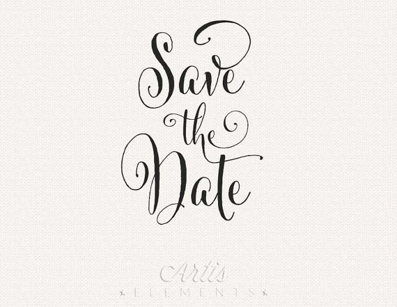 Typography clipart black and white Save the Clip Date Photo