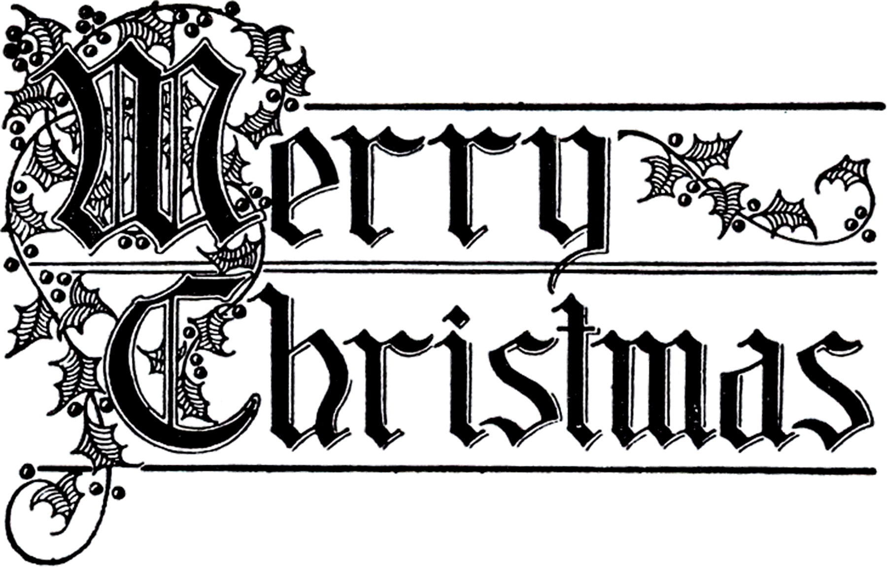 Typography clipart black and white Beautiful Typography Merry The Christmas