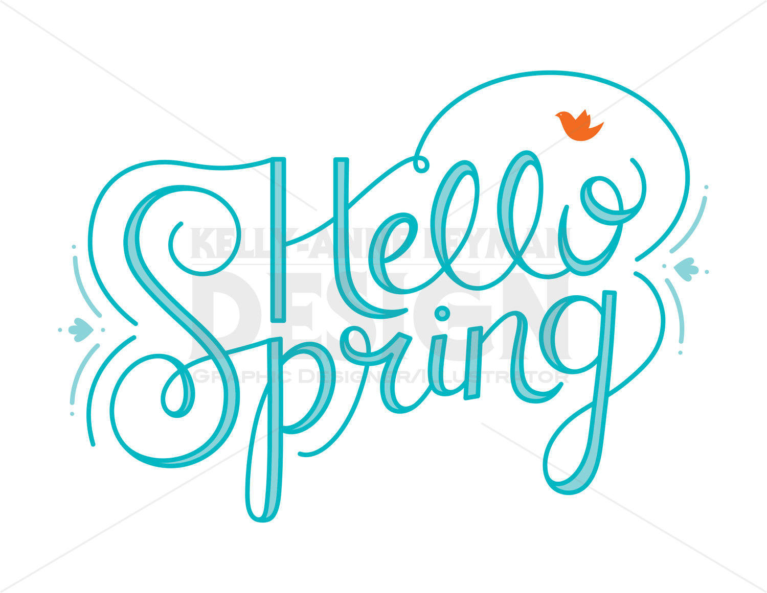 Hello! clipart kind word  Hand Lettering digital Typography