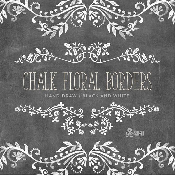 Drawn ornamental chalkboard Digital Chalk 98 art Borders