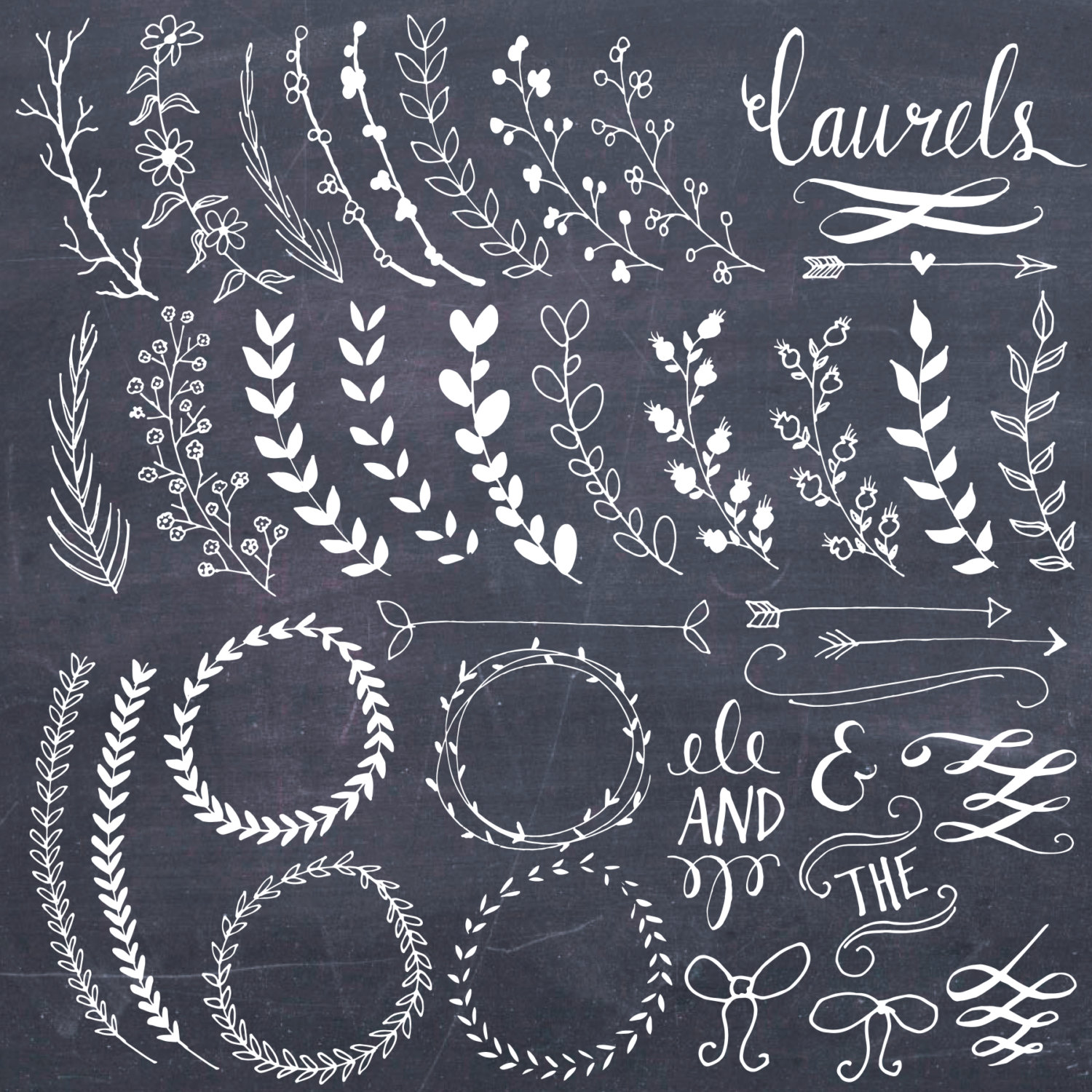 Wreath clipart calligraphy Chalkboard Commercial // // &