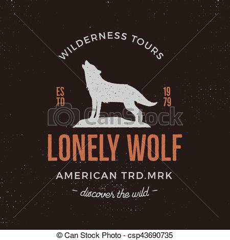 Typography clipart old style And wilderness Old wolf style