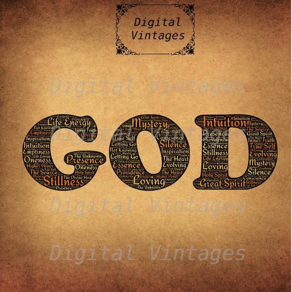 Typography clipart religious Printable Download Vintage God Prints