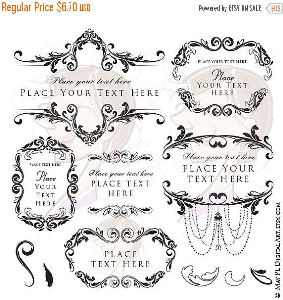 Typography clipart vintage bridal Clipart Frame Classic Wedding Flourish