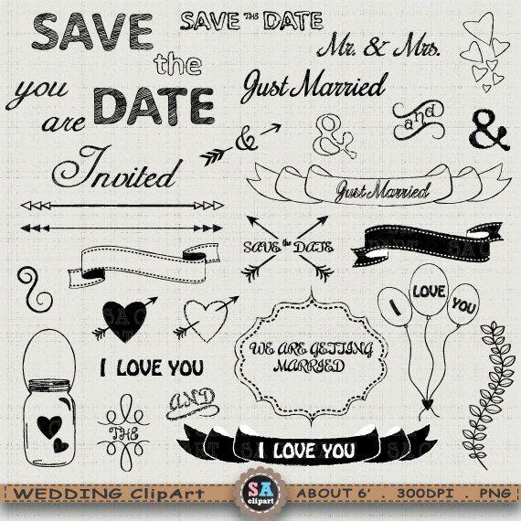 Typography clipart vintage bridal WEDDING best on SAClipArt Pinterest