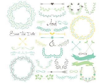 Typography clipart thank you calligraphy Arrows Art Set I Wreaths