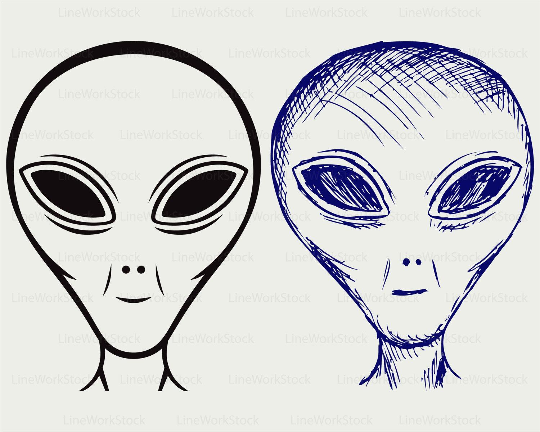 UFO clipart silhouette A svg face svg alien