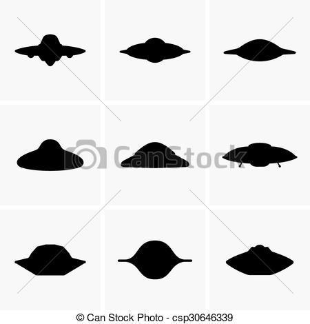 UFO clipart silhouette Vectors  nine csp30646339 Art