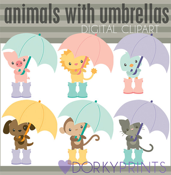 Umbrella clipart animal Animals Set with Commercial Personal