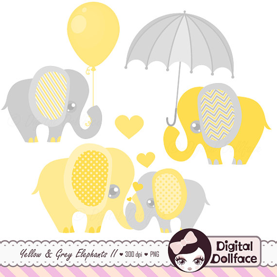 Yellow clipart baby elephant Clipart Shower Elephant Clip and
