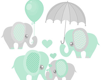 Umbrella clipart baby elephant Pastel Clip and Shower Collection