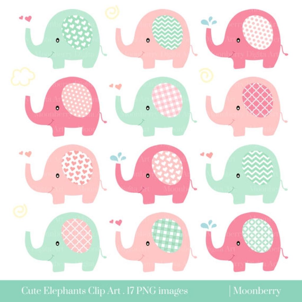 Umbrella clipart baby elephant Elephant shower art baby elephant