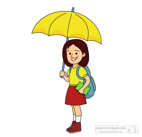 Umbrella clipart child With student book book with