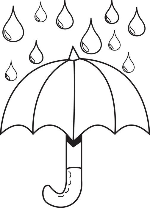 Water Droplets clipart colouring picture  with Umbrella Spring Page