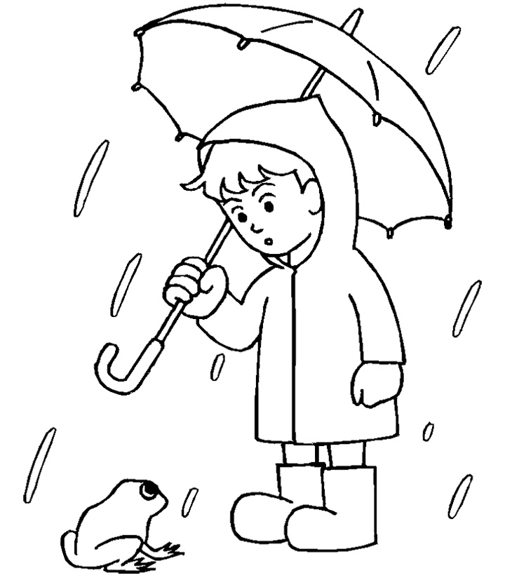Drawn raindrops coloring page And Umbrella Rain Boy Coloring