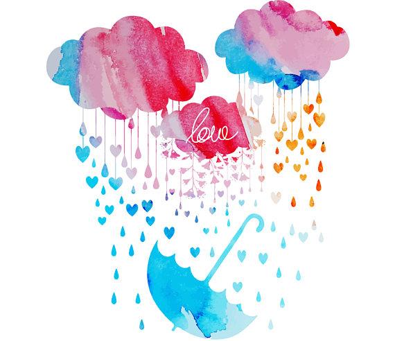 Umbrella clipart heart Art Umbrella Heart on WatercolourClipArt
