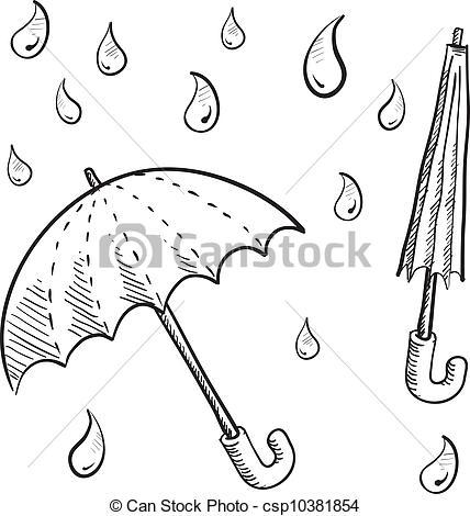 Drawn umbrella raindrop Umbrella Vector style sketch Rain