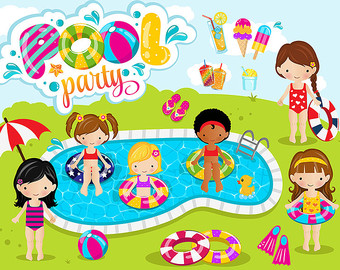 Party clipart pool Party pool Pool party Girls