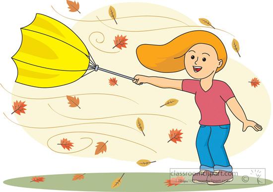 Leaves clipart windy Classroom umbrella girl Weather umbrella