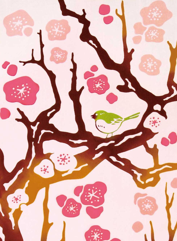 Ume Tree clipart 00 Bird Tenugui $19 Towel