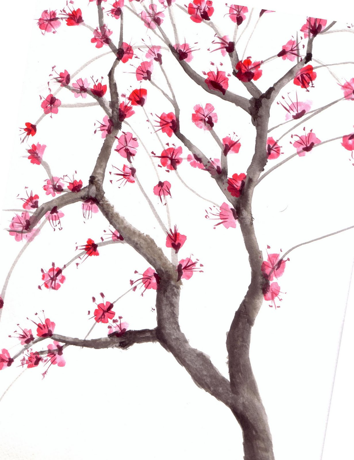 Cherry Tree clipart watercolor  watercolor tree by karmaela