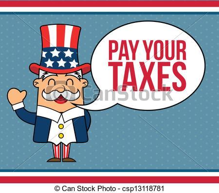 Uncle Sam clipart sales tax Cartoon blue background vector Vector
