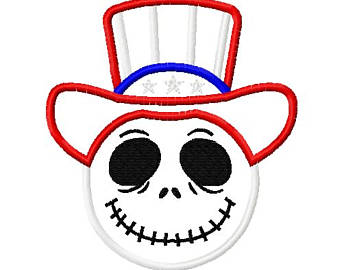 Uncle Sam clipart cute Skeleton Applique Sam Inspired Embroidery