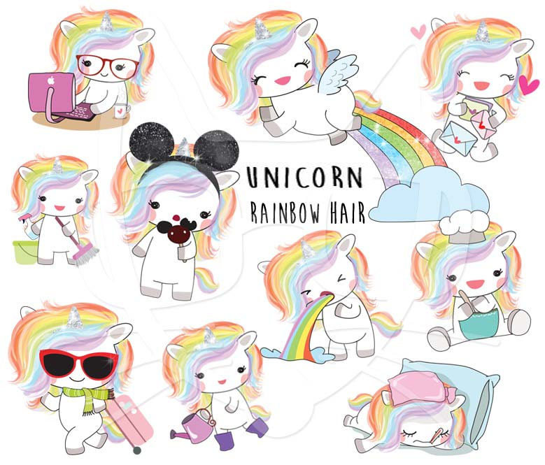 Unicorn clipart Rainbow 300 dpi art unicorn