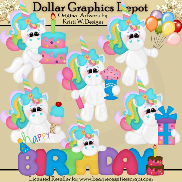 Birthday clipart unicorn *DGD Dollar : Exclusive* $1
