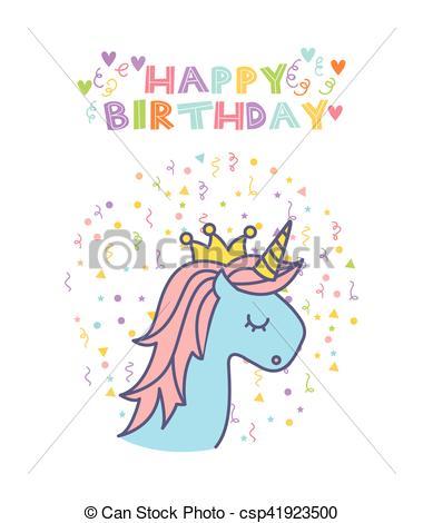 Birthday clipart unicorn Vector  Clipart card unicorn