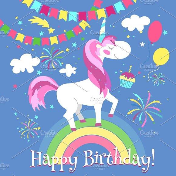 Birthday clipart unicorn Unicorn Market Creative Illustrations Illustrations