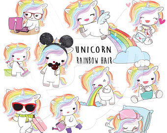 Unicorn clipart rainbow hair Unicorn unicorn Rainbow Etsy 300