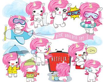 Unicorn clipart rainbow hair Clipart Unicorn cute Set Pink