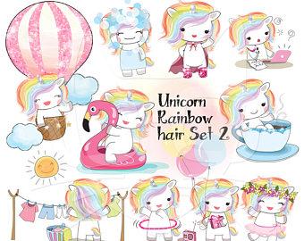 Unicorn clipart rainbow hair Unicorn Kawaii Unicorn unicorn Rainbow