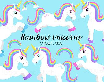 Unicorn clipart rainbow hair Art Clipart Rainbow Etsy Clipart