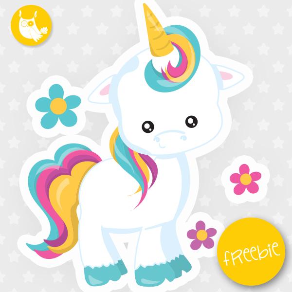 Birthday clipart unicorn Freebie commercial freebie  commercial