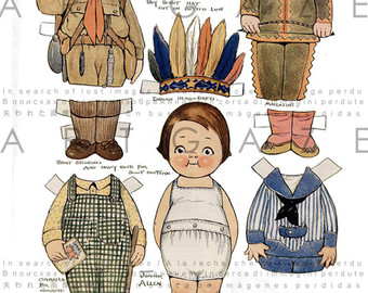 Uniform clipart boy dress up Vintage paper Costumes Little doll