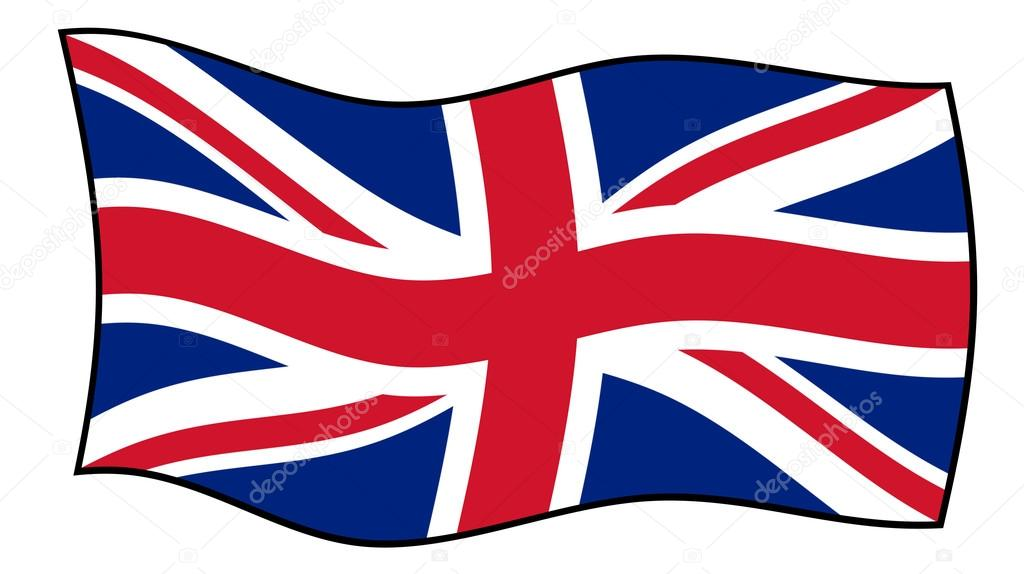 Union Jack clipart flying Flag on background isolated windy