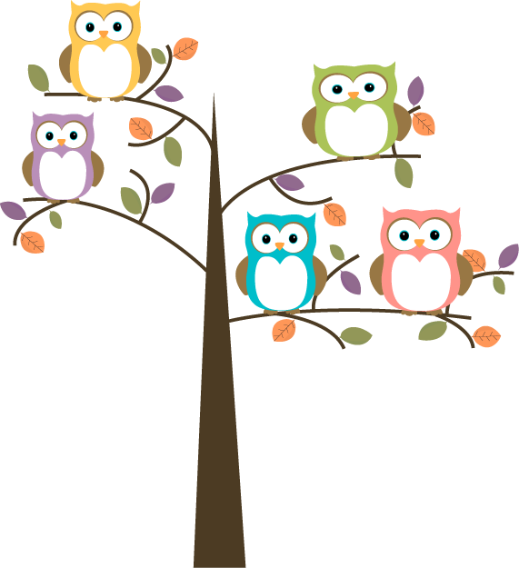Artwork clipart colorful Colorful Clip Owls Tree Colorful