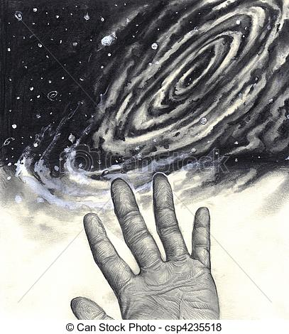Universe clipart black and white  Illustration reaching reaching of