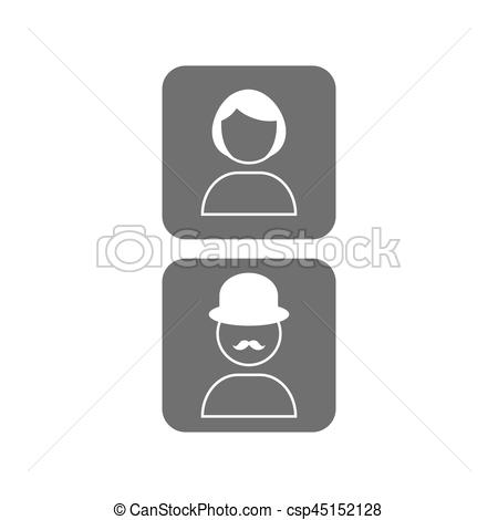 Unknown clipart icon Flat male picture of Illustration