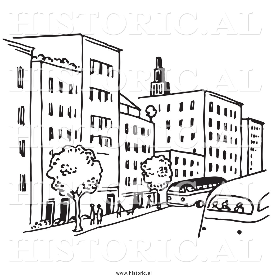 Building clipart city street Of Trees People Black City