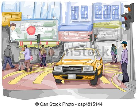 Traffic clipart busy road Of  of Street People