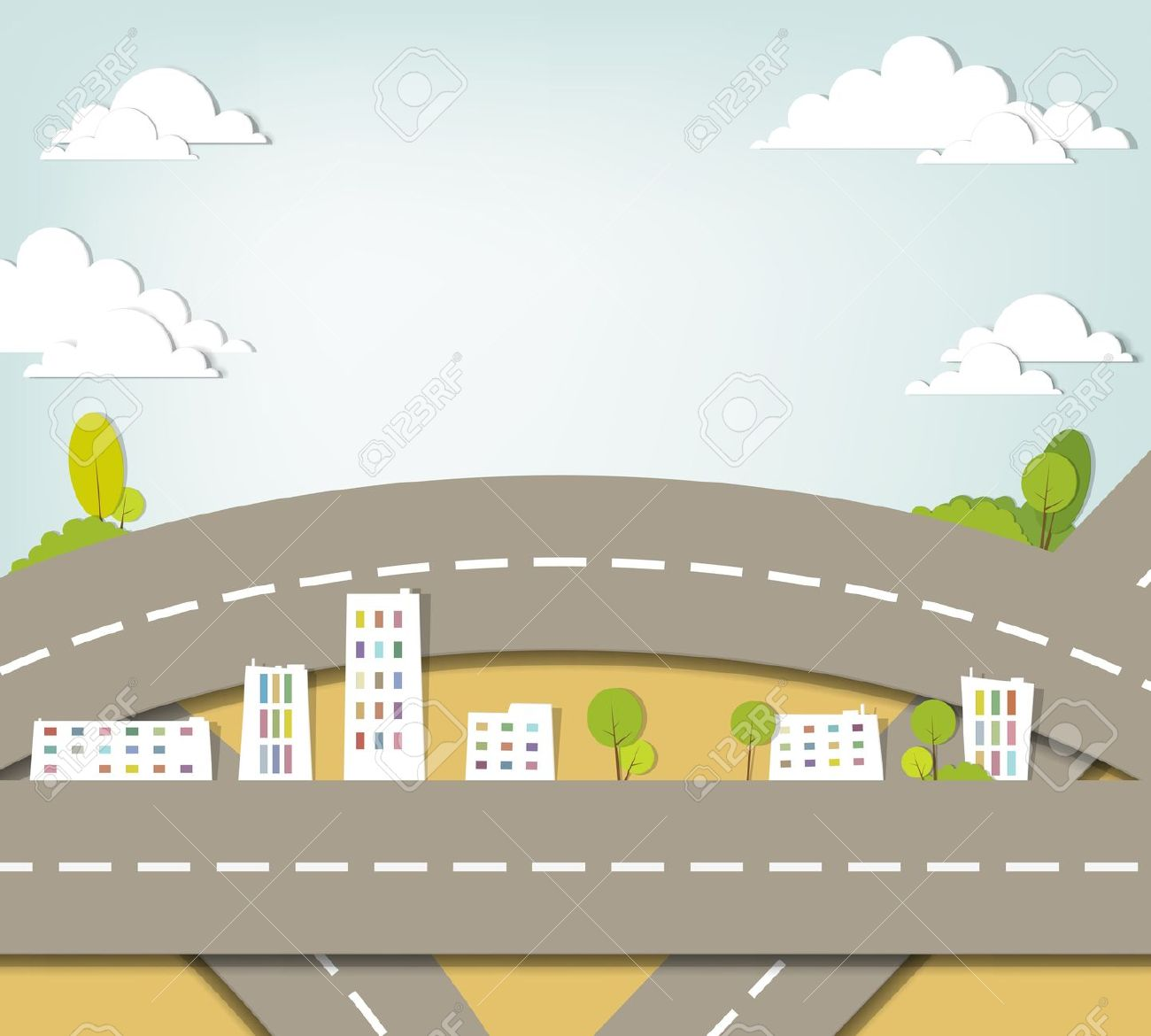 Town clipart city road #1