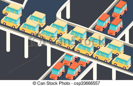 Traffic clipart crowded city Car Vector stuck of
