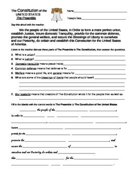Us History clipart preamble 25+ Worksheets of U preamble