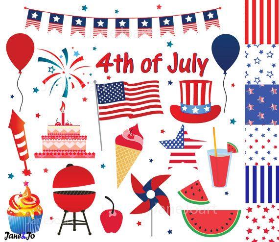 Birthday clipart 4th july Of Etsy Pinterest art of