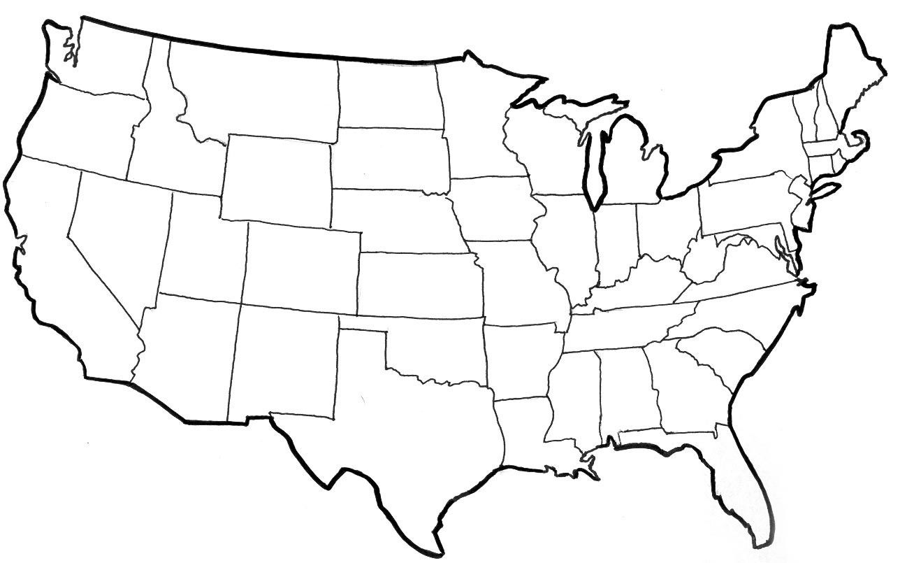 USA clipart black and white Image  Maps Of US